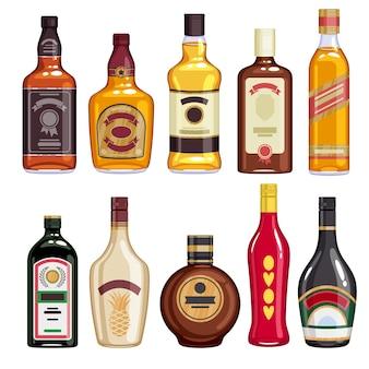 Set di icone di bottiglie di whisky e liquore.