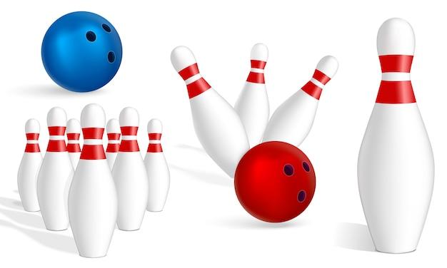 Set di icone di bowling