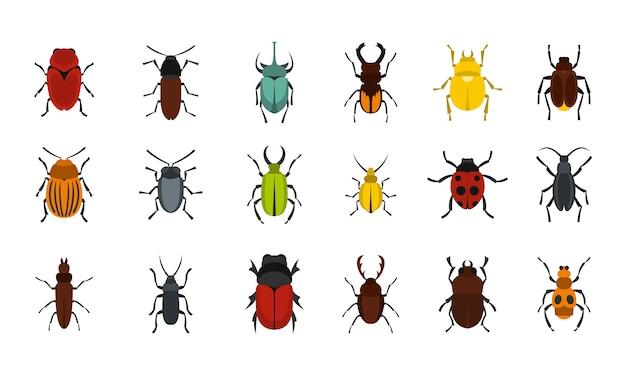 Set di icone di bug. insieme piano della raccolta delle icone di vettore degli insetti isolata