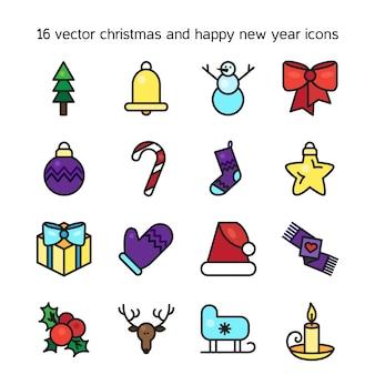 Set di icone di buon natale. felice anno nuovo simboli. segni di vacanza invernale vettore