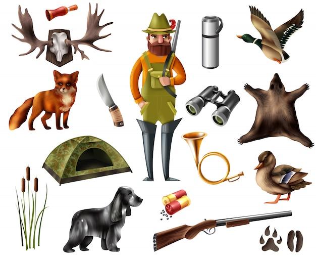 Set di icone di caccia