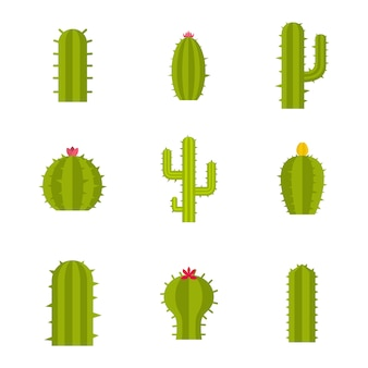 Set di icone di cactus. insieme piano della raccolta delle icone di vettore del cactus isolato