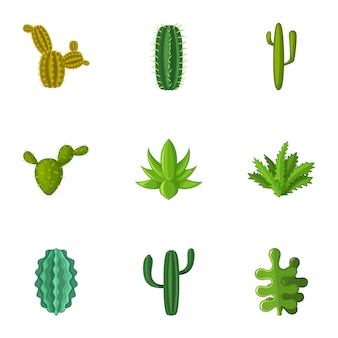 Set di icone di cactus, stile cartoon