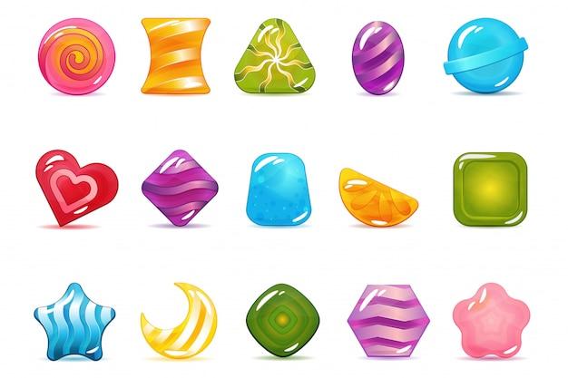 Set di icone di cady duro, lecca-lecca e gelatina