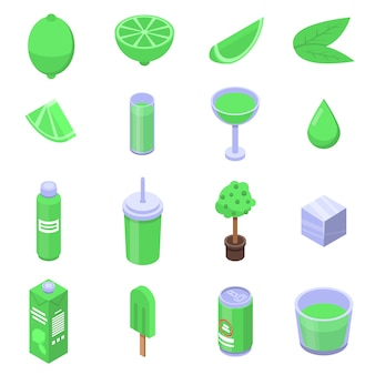 Set di icone di calce, stile isometrico
