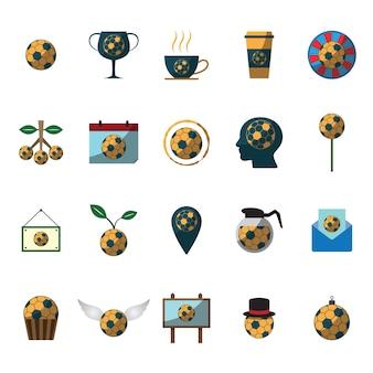 Set di icone di calcio calcio