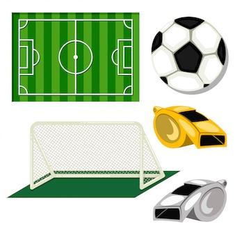 Set di icone di calcio: palla, obiettivo di calcio, campo e fischio dell'arbitro. illustrazione del fumetto isolata su un bianco.