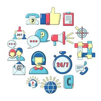 Set di icone di call center, stile cartoon