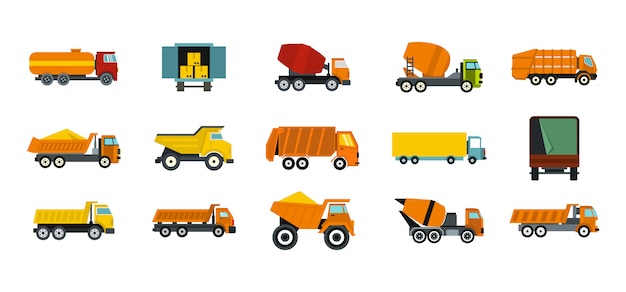 Set di icone di camion. insieme piano della raccolta delle icone di vettore del camion isolato