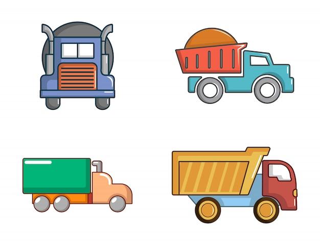 Set di icone di camion. l'insieme del fumetto delle icone di vettore del camion ha messo isolato