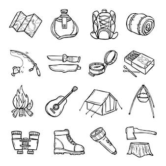 Set di icone di campeggio nero bianco