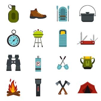 Set di icone di campeggio.
