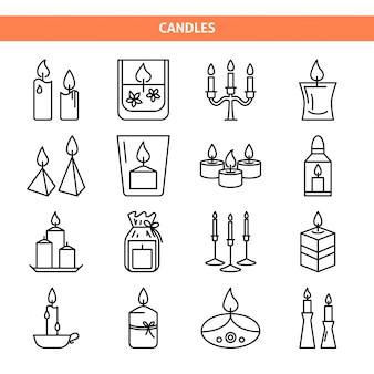Set di icone di candela