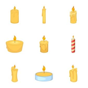 Set di icone di candele, stile cartoon
