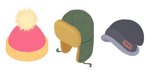 Set di icone di cappelleria invernale