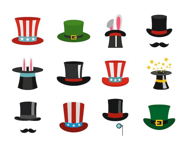 Set di icone di cappello a cilindro. insieme piano della raccolta delle icone di vettore del cilindro isolato