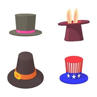 Set di icone di cappello a cilindro