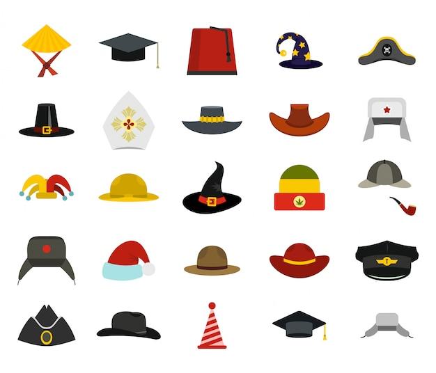 Set di icone di cappello. insieme piano della raccolta delle icone di vettore del cappello isolato