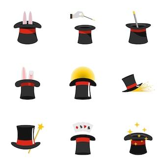 Set di icone di cappello magico. set piatto di 9 icone vettoriali cappello magico