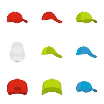 Set di icone di cappello. set piatto di 9 icone cappello