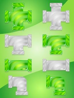 Set di icone di caramelle colore verde e grigio