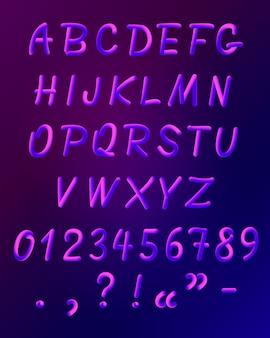 Set di icone di carattere al neon liquido