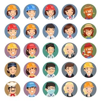 Set di icone di caratteri vettoriali professioni