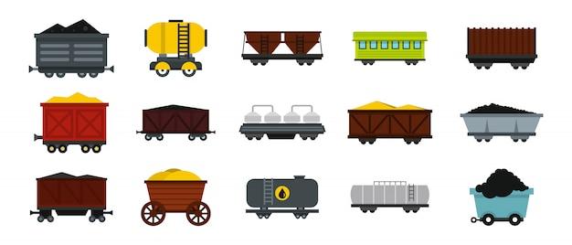 Set di icone di carro. insieme piano della raccolta delle icone di vettore del vagone isolato