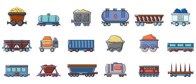 Set di icone di carro. l'insieme del fumetto delle icone di vettore del vagone ha messo isolato