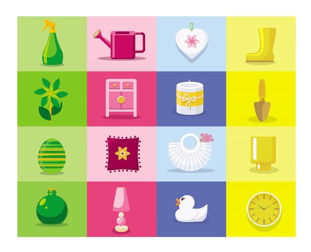 Set di icone di casa e giardinaggio. icone piatte della famiglia.