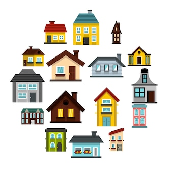 Set di icone di casa, stile piano