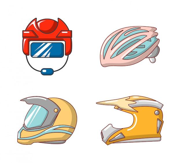 Set di icone di casco sportivo. l'insieme del fumetto delle icone di vettore del casco di sport ha messo isolato