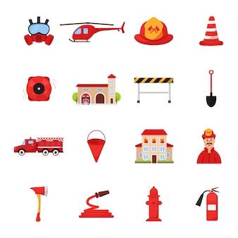 Set di icone di caserma dei pompieri.