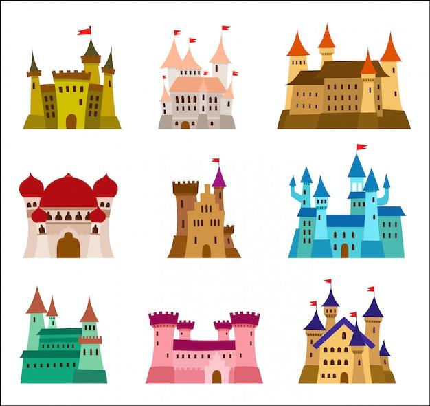 Set di icone di castelli di castelli medievali