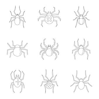 Set di icone di caterpillar bug ragno