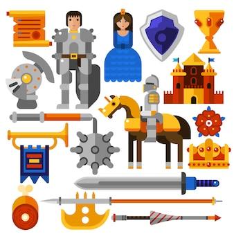 Set di icone di cavaliere piatto
