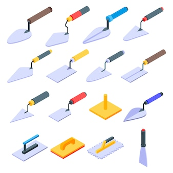 Set di icone di cazzuola, stile isometrico