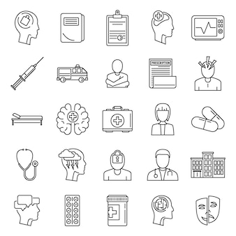 Set di icone di cervello ospedale psichiatrico