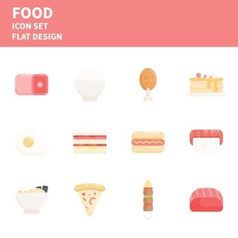 Set di icone di cibo stile piatto