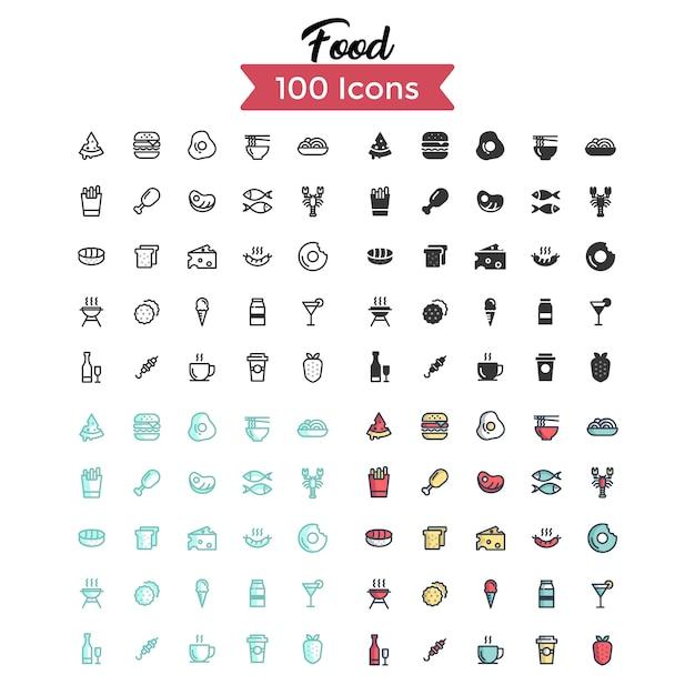 Set di icone di cibo.
