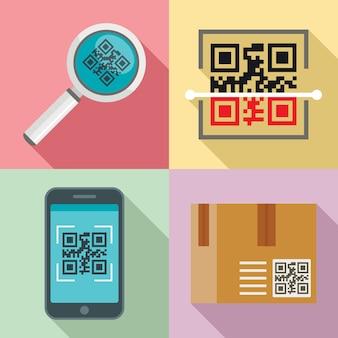 Set di icone di codice qr, stile piano