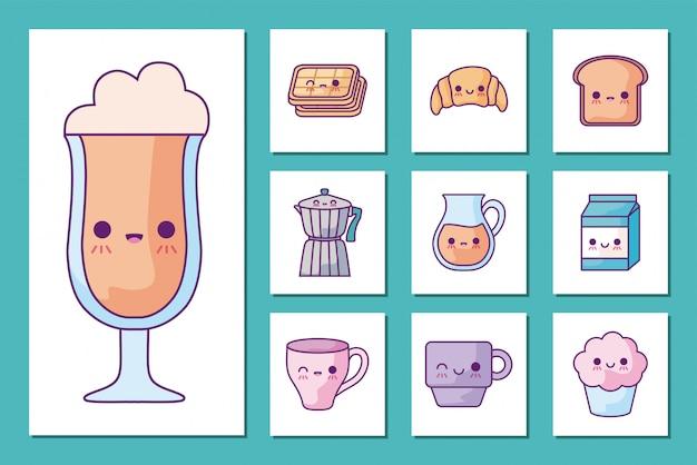 Set di icone di colazione e cibo cartoni animati