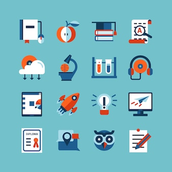 Set di icone di colore formazione online