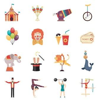 Set di icone di colore piatto prestazioni circo