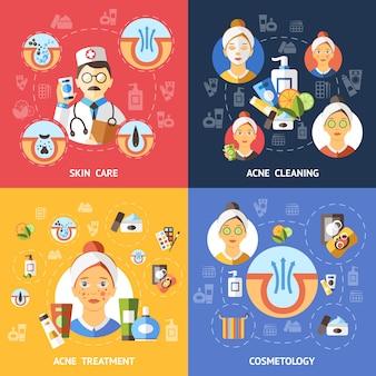Set di icone di composizioni di acne