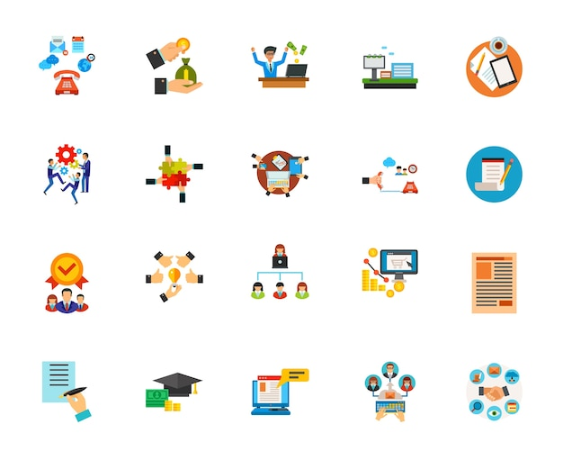 Set di icone di comunicazione aziendale