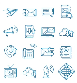 Set di icone di comunicazione con stile ouline