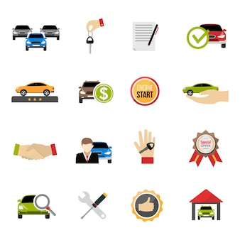 Set di icone di concessionaria auto