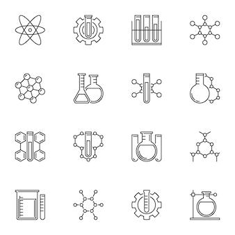 Set di icone di concetto chimico in stile linea sottile