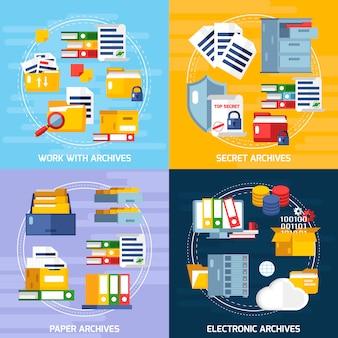 Set di icone di concetto di archiviazione